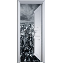 Sticker porte trompe l'oeil New York vue du ciel 90x200cm