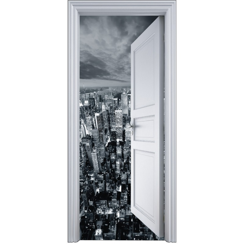 sticker porte trompe l 39 oeil new york vue du ciel 90x200cm art d co stickers. Black Bedroom Furniture Sets. Home Design Ideas