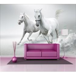Stickers géant déco : chevaux blanc
