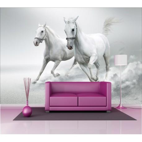 Stickers géant déco : chevaux blanc - Art Déco Stickers