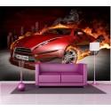 Stickers géant déco : voiture sport flamme