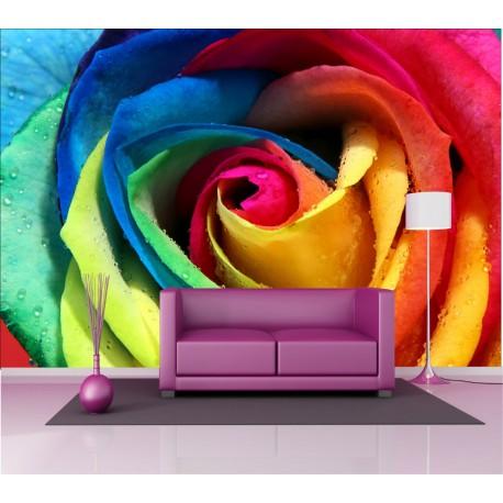 Stickers géant déco : fleur multicolore
