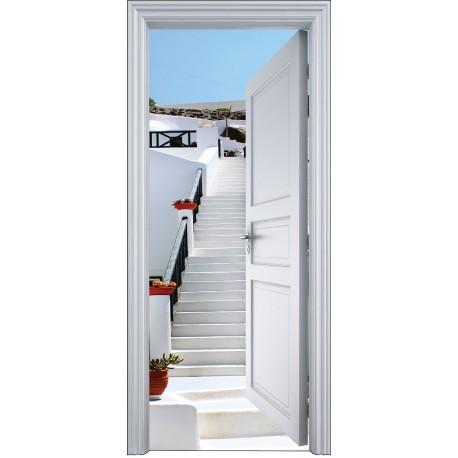 sticker porte trompe l 39 oeil mont e escalier 90x200cm art d co stickers. Black Bedroom Furniture Sets. Home Design Ideas