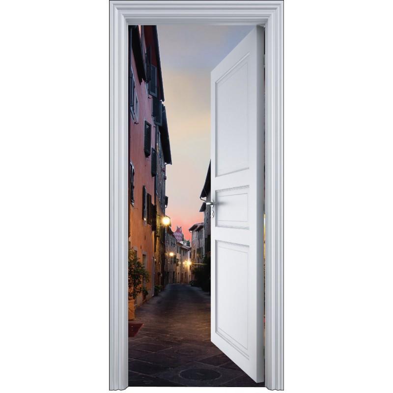 Sticker Porte Trompe L 39 Oeil Ruelle Clair E 90x200cm Art