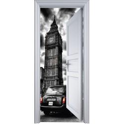 Sticker porte trompe l'oeil monument Londres 90x200cm