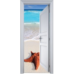 Sticker porte trompe l'oeil étoile de mer plage 90x200cm