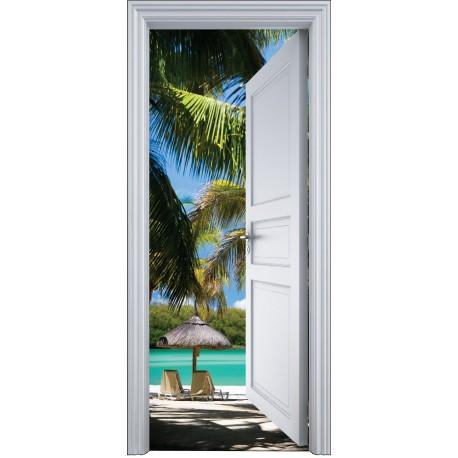sticker porte trompe l 39 oeil plage palmier 90x200cm art. Black Bedroom Furniture Sets. Home Design Ideas