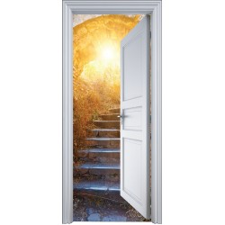 Sticker porte trompe l'oeil montée escalier ensolleillée 90x200cm