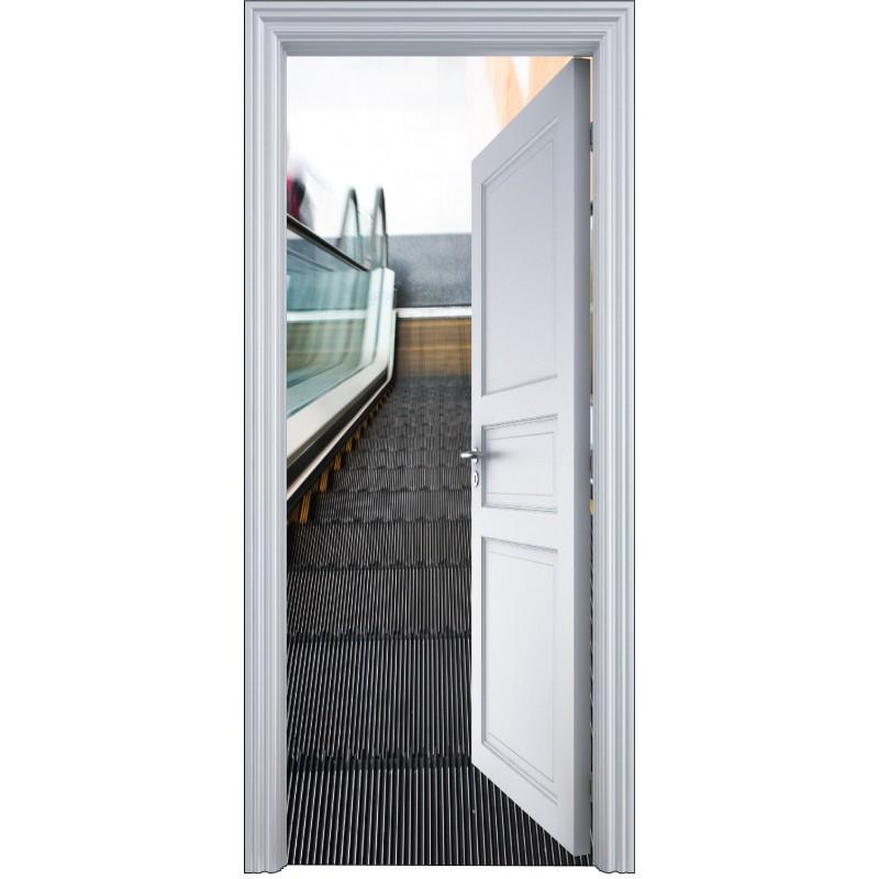 sticker porte trompe l 39 oeil escalator 90x200cm art d co stickers. Black Bedroom Furniture Sets. Home Design Ideas