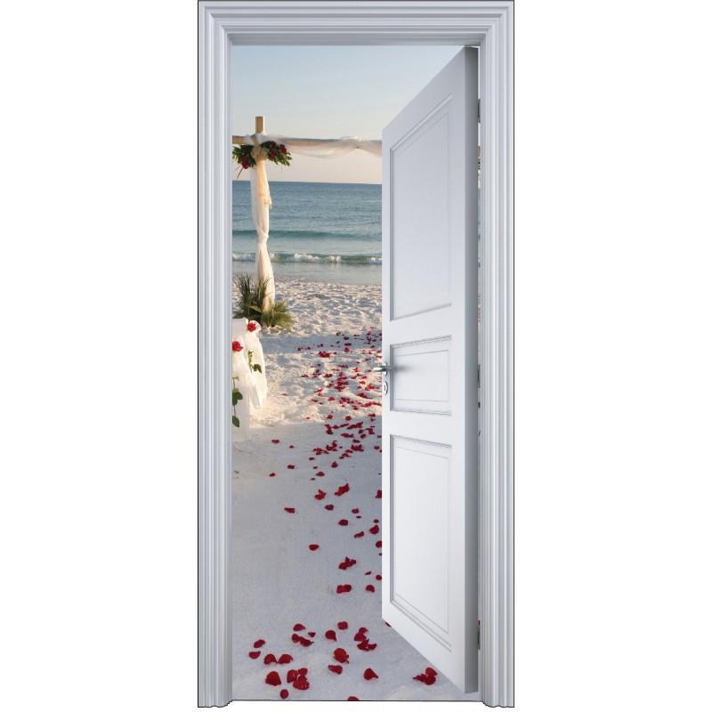 Sticker porte trompe l 39 oeil mariage bord de plage 90x200cm - Trompe l oeil de porte ...