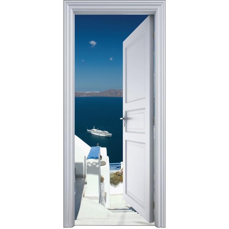 sticker porte trompe l 39 oeil balcon vue sur la mer 90x200cm art d co stickers. Black Bedroom Furniture Sets. Home Design Ideas