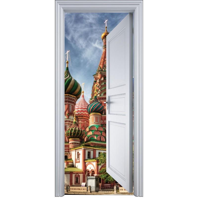 sticker porte trompe l 39 oeil glise russe 90x200cm art d co stickers. Black Bedroom Furniture Sets. Home Design Ideas
