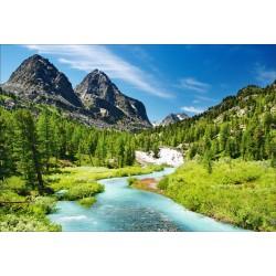 Stickers muraux déco: paysage montagne rivière