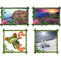 Stickers bambous trompe l'oeil